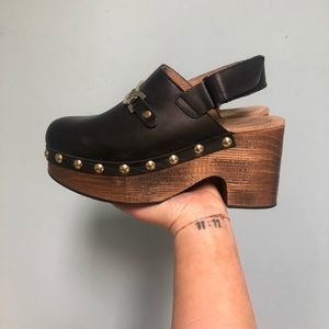 Free People wooden clogs